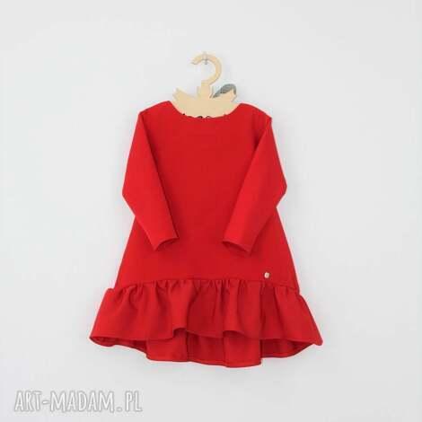 sukienka z falbana i kokarda, falbana, czerwona