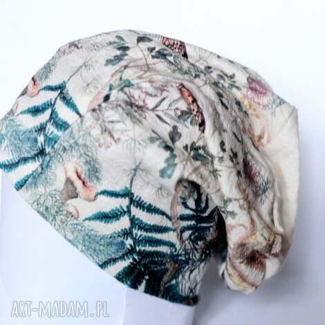 czapka z francuskiego materiału malowana - czapka, dzianina, kolorowa, etno