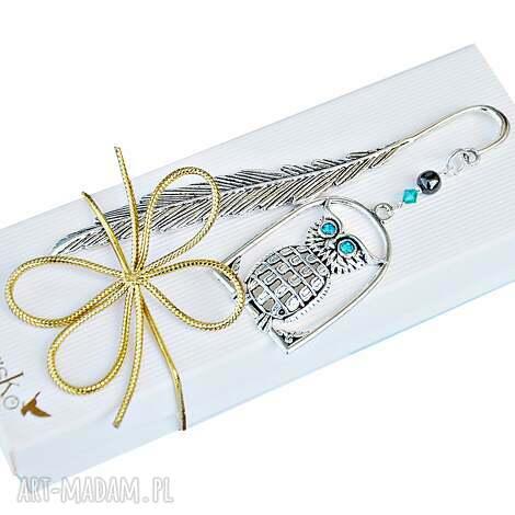 zakładki elegancka sowa - zakładka z kryształkami, zakładka, sowa, prezent, dla