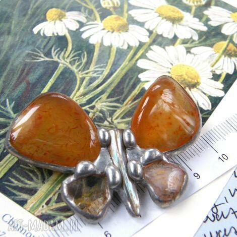 broszka: motyl z karneolem i cytrynem, broszka z kamieni, cytryn, karneol