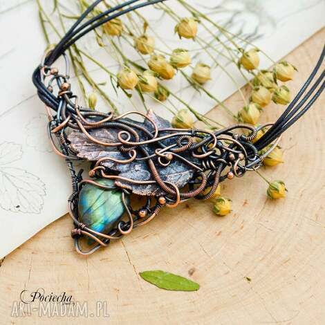 jarowit - naszyjnik z labradorytem i prawdziwym liściem - naszyjnik z wisiorem