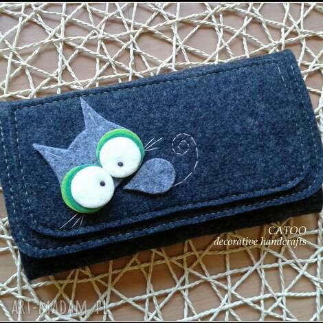 portfele duzy portfel od catoo, portfel, prezent, filc, kot, kotek, święta