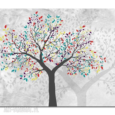 obraz drzewo kolorowe -d2- 120x70cm na płótnie, obraz, drzewo, dom