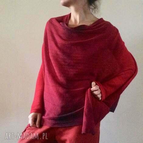 poncho wełniane ponczo w kolorze wina, ponczo, narzutka, sweter, prezent
