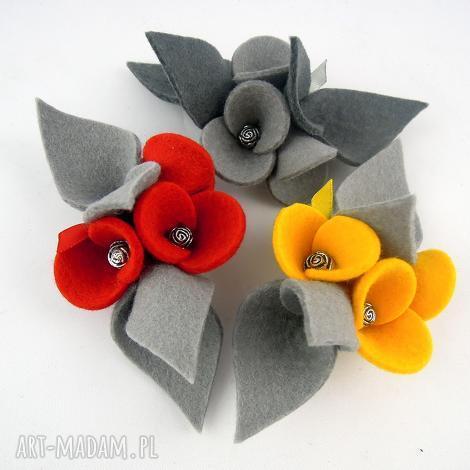 zestaw 3 broszek z filcu filc, broszka, broszki komplet, kwiatki