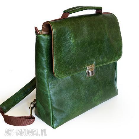 teczki plecak / torba skóra zielona pull up, pullup, naturalna, plecak, torba, teczka