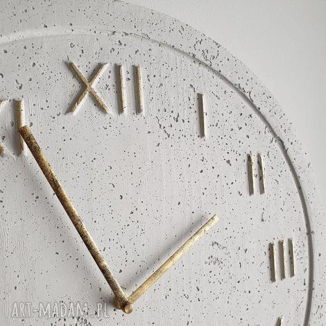 graycrafters zegar betonowy handmade z betonu biały złoty 45cm vintage styl