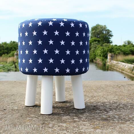 pufa niebieskie gwiazdki - białe nogi 36 cm, puf, taboret, hocker, siedzisko