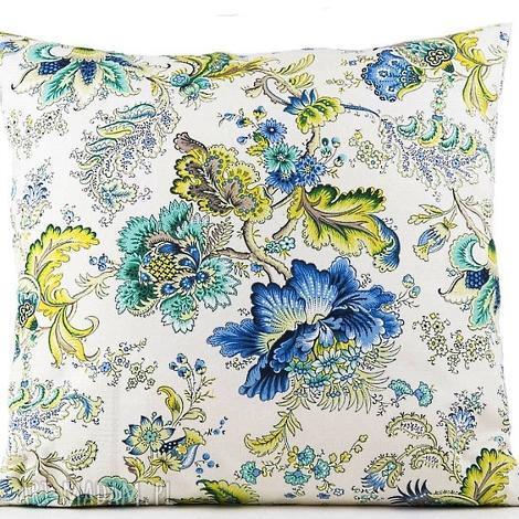poduszka dekoracyjna 45x45cm - kobaltowe kwiaty, poduszki, oryginalna, bawełna