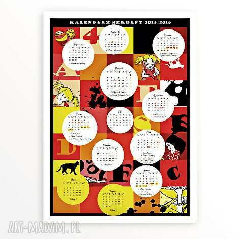kalendarz szkolny 2015 2016 - kalendarz, szkoła, 2015, 2016, plakat, dziecko