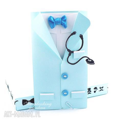 fartuch lekarski - kartka dla niego - lekarz, doktor, stetoskop, mucha, podziękowanie