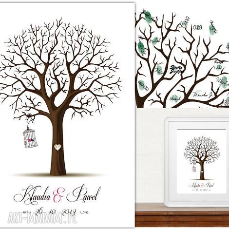 romantyczne drzewo wpisów 40x50 cm 2 tusze, księga, goście, drzewo, ślub