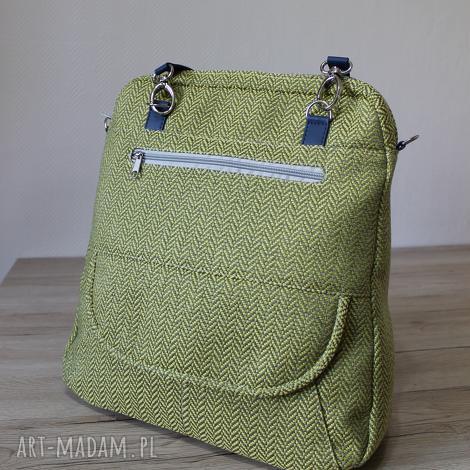 3d9a1bce2dcde plecak torba listonoszka - tkanina w jodełkę lemon