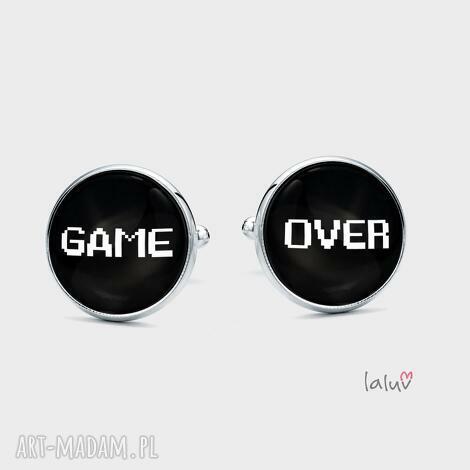 spinki do mankietów game over - grafika, nerd, geek, komputer, gra, gry