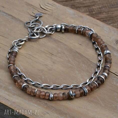 andaluzyt srebrna bransoletka - andaluzyt, srebro, minerały, surowa, boho