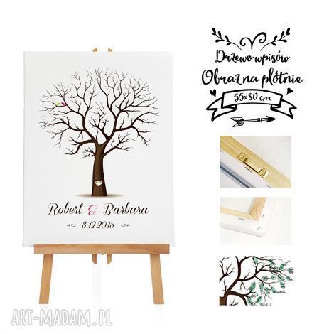obraz weselny drzewo wpisów - alternatywa dla księgi gości 55x80 cm