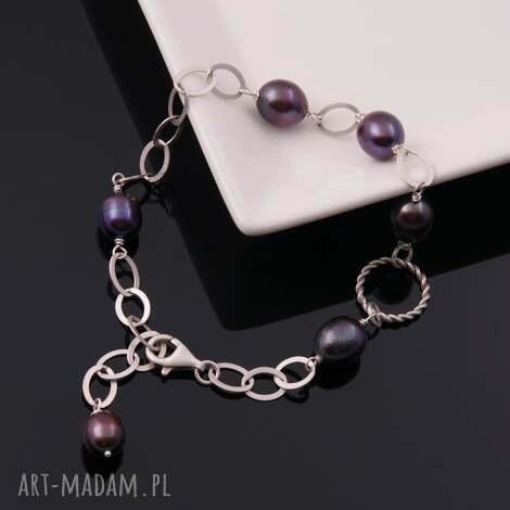 srebrna bransoletka z ciemnymi perłami, srebrna, oryginalna, bransoletka, perły