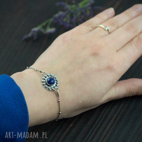 srebrna bransoletka z lapis lazuli i różami, bransoletka z lapis lazul