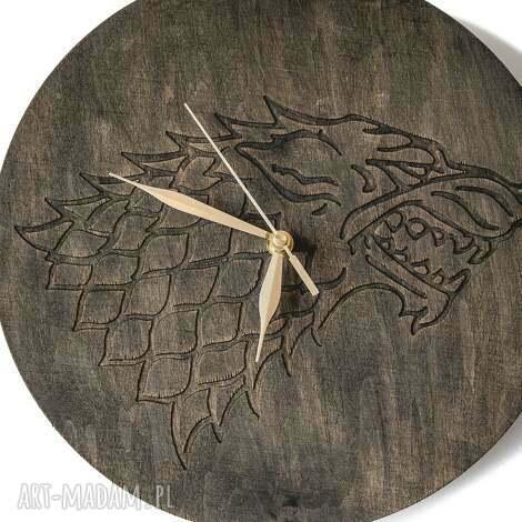 zegary zegar drewniany wolf, zegar, wilk