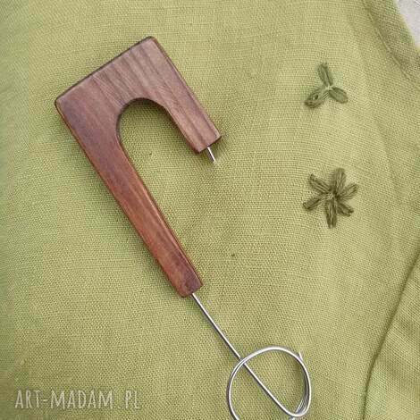 broszka biżuteria z drewna - drewno