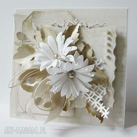 krem i biel - kartka w pudełku - ślub, życzenia, gratulacje, urodziny