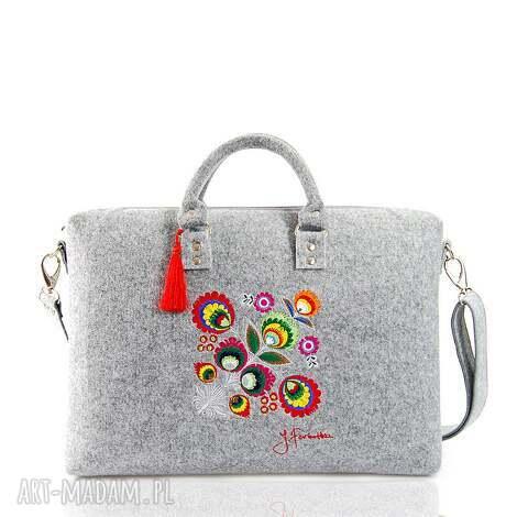 torba filcowa kwiat łowicki 202, laptop, filc, łowicki, na laptopa