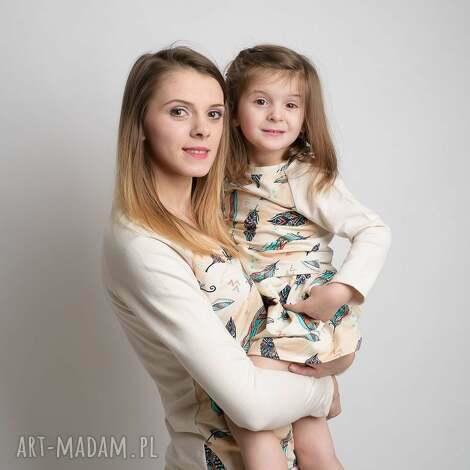 bluzki z długim rękawem dla mamy i córki piórka, mamaicórka, komplet, bluzki, piórka