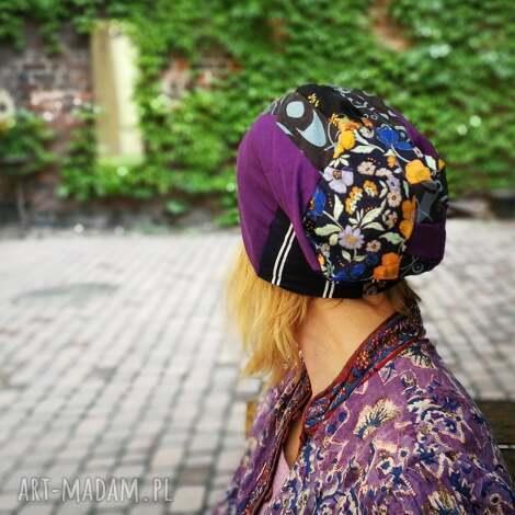 czapka smerfetka długa wzory patchwork dresowa handmade - patchwork, czapka, rower