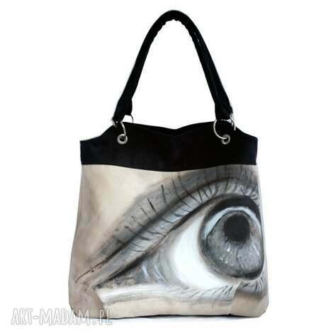oko za oko - torebka, alkantara, oryginalna, malowana, oko, duża