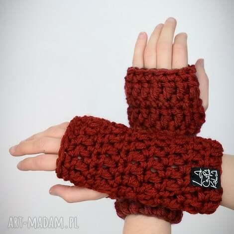 rękawiczki 25 - rdzawe - mitenki, prezent, upominek, zestaw komplet