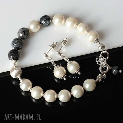 larvikit w perłach, larvikit, perły sea shell, srebro, delikatny, elegancki