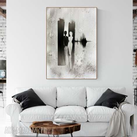 grafika 70 x 100 cm wykonana ręcznie, abstrakcja, elegancki minimalizm, obraz do