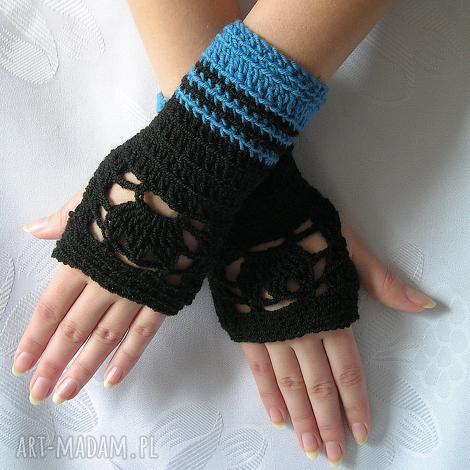 rękawiczki - ażurowe mitenki - czarno-niebieskie - mitenki, rękawiczki, lekkie