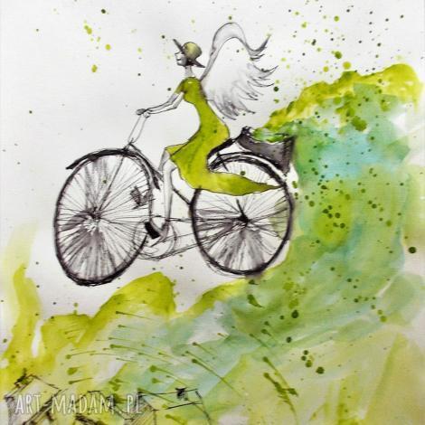 grafika akwarelą i piórkiem anioł na rowerze artystki adriany laube, rower