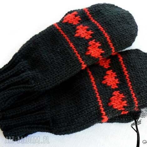 czerwone jednopalczaste - rękawiczki, jednopalczaste, serce, walentynki