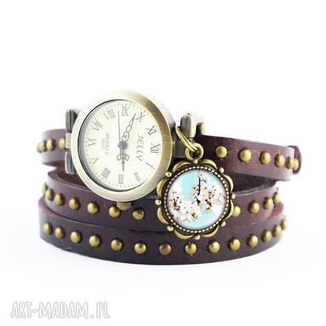 zegarki bransoletka, zegarek - kwitnąca biel brązowy, nity, skórzany