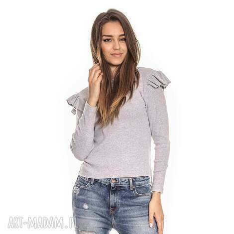 szara bluzka damska z falbankami, z-falbanką, długi-rękaw, elastyczna, dopasowana