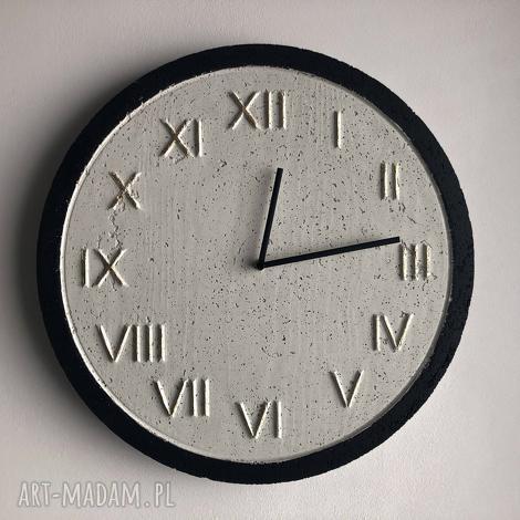 zegar betonowy handmade z betonu biały złoty czarny 45cm vintage styl skandynawski
