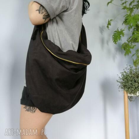 na ramię torebka worek czarna, zamszowa, torba, torebka, worek, plecak, oversize
