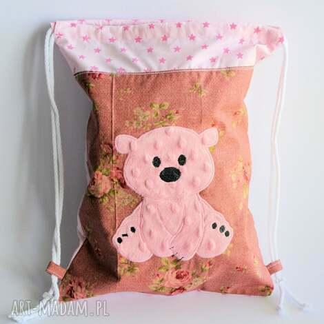 worek plecak z różowym misiem - plecak, worek, miś, dziewczynka