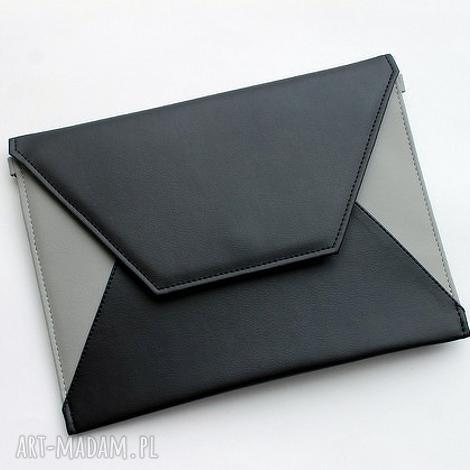 kopertówka - czarna i boki szare, elegancka, nowoczesna, prezent, wizytowa, wesele
