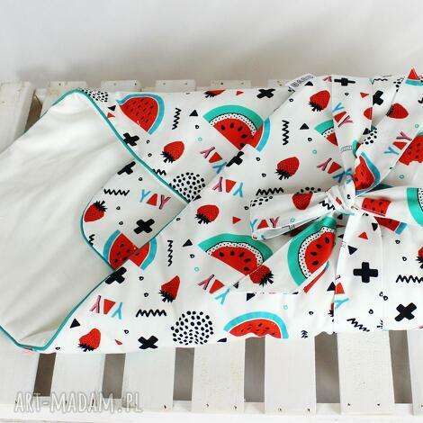 rożek niemowlęcy - arbuzy, rożek, otulacz, niemowlę, arbuz dziewczynka