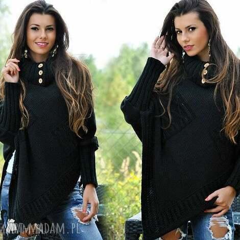 asymetryczny sweter ponczo, sweter, narzuta, pled, wdzianko