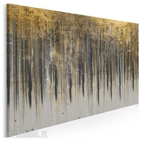 obraz na płótnie - wzór czarny złoty 120x80 cm 90405, abstrakcja, art deco