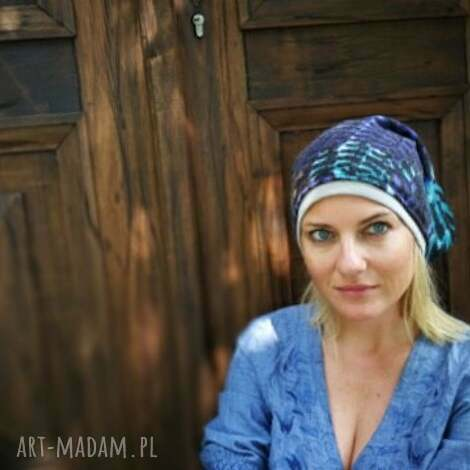 czapka damska niebieska etno miękka ciepła - czapka, etno, zima, długa