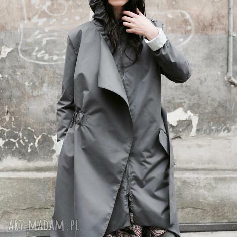 płaszcz asymetryczny przeciwdeszczowy szary, kaptur, awangardowy, asymetria, jesienny