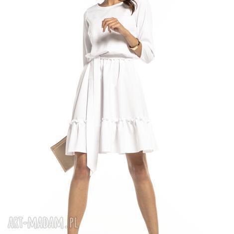 elegancka sukienka z falbaną ściągnięta w pasie, t285, biała, elgancka