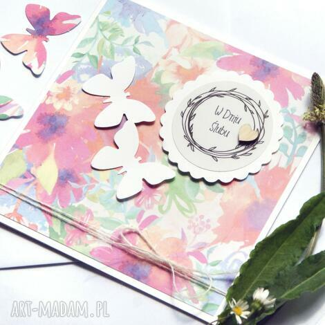 kartki kartka ślubna handmade motyle watercolors ii, ślub