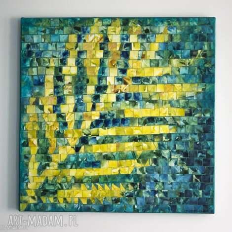 obraz - jesienne inspiracje iii, obraz, płótno, akryl, oryginalny, dom, liść