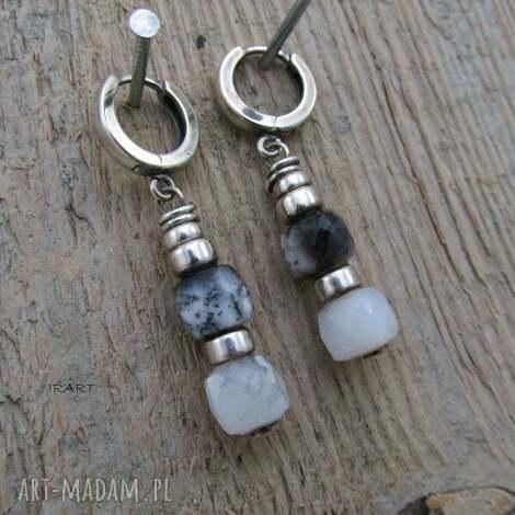 kolczyki z nieregularnych opali dendrytowych, srebro, opal, dendrytowy, kolczyki